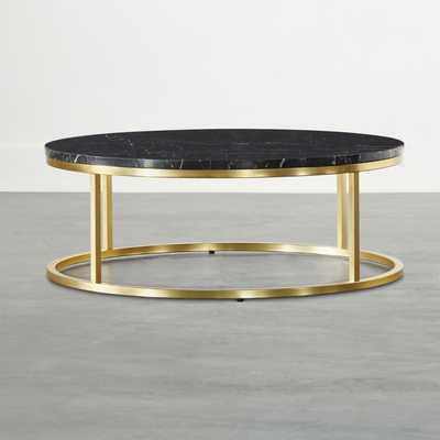 Smart Brass Coffee Table with Black Marble Top - CB2