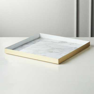 Active Large White Marble Tray - CB2