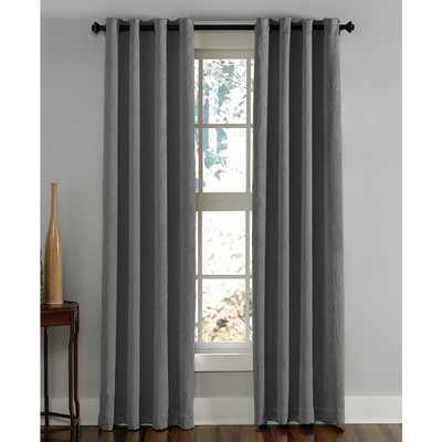 Curtainworks Lenox Room Darkening 50 in. W x 95 in. L Grommet Curtain Panel in Grey - Home Depot
