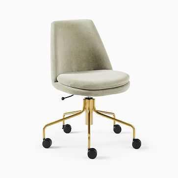 Finley Office Chair, Yarn Dyed Linen Weave, Dusty Blush, Antique Brass - West Elm