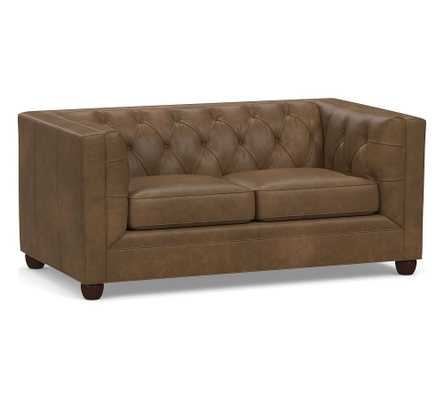 Chesterfield Square Arm Leather Loveseat, Polyester Wrapped Cushions, Churchfield Chocolate - Pottery Barn