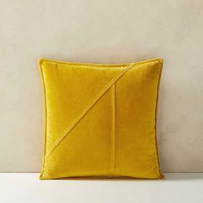 "Washed Cotton Velvet Pillow Cover, 18""x18"", Dark Horseradish - West Elm"