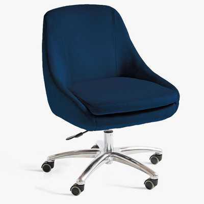 Mathis Swivel Desk Chair, Velvet Navy - Pottery Barn Teen