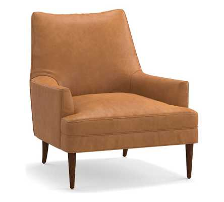 Reyes Leather Armchair, Polyester Wrapped Cushions, Churchfield Camel - Pottery Barn