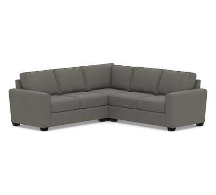 SoMa Fremont Square Arm Upholstered 3-Piece L-Shaped Corner Sectional, Polyester Wrapped Cushions, Chenille Basketweave Charcoal - Pottery Barn