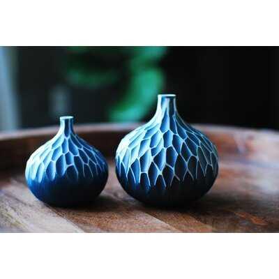 """2 Piece Roni Blue 3.35"""" Porcelain Table Vase Set - Wayfair"""