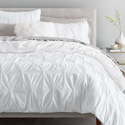 Ft New Organic Cotton Pintuck Duvet & King Sham, White, King - West Elm