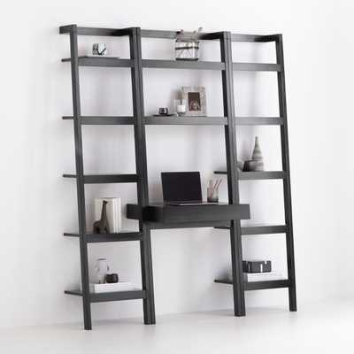 Sawyer Black Leaning Desk with Two 18'' Bookcases - Crate and Barrel