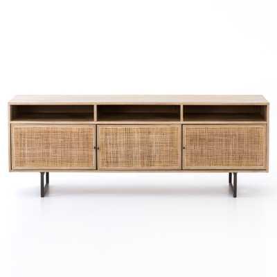 Carmela Mid Century Modern Brown Mango Wood Black Iron Media Console - Kathy Kuo Home