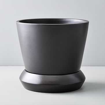 Totem Tabletop Planters, Black, Large - West Elm