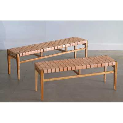 """From the Source Grasshopper Solid Wood Bench Size: 17.5"""" H x 46"""" W x 14"""" D - Perigold"""