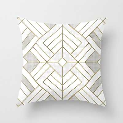 "Lennox Vintage Deco - White & Gold Couch Throw Pillow by Crystal W Design - Cover (24"" x 24"") with pillow insert - Indoor Pillow - Society6"