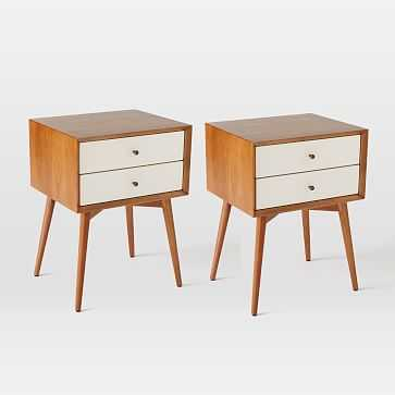 Mid-Century Nightstand, White Lacquer/Acorn, Set of 2 - West Elm