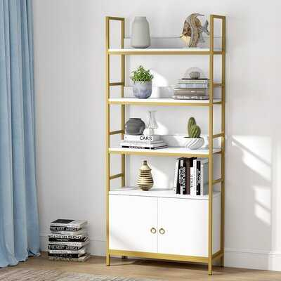 Everly Quinn Gold Bookcase With Doors(White) - Wayfair