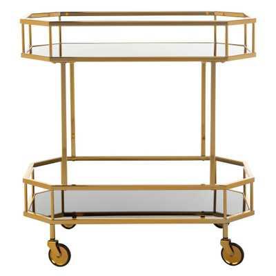 Safavieh Silva 2-Tier Brass Bar Cart, Brass/Tinted Glass - Home Depot