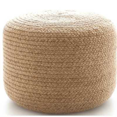 """Fresh American Braided Natural Indoor/Outdoor Pouf 20""""W x 14""""H - Perigold"""