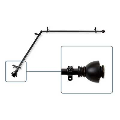 ROD DESYNE 28 in. to 48 in. Adjustable 13/16 in. Corner Window Curtain Rod in Black with Friedman Finials - Home Depot