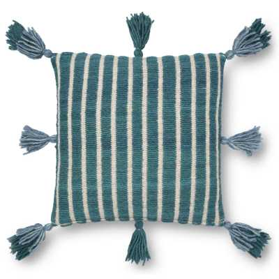 """Striped Throw Pillow Fill Material: Polyester/Polyfill, Color: Blue/Teal, Size: 18"""" x 18"""" - Perigold"""