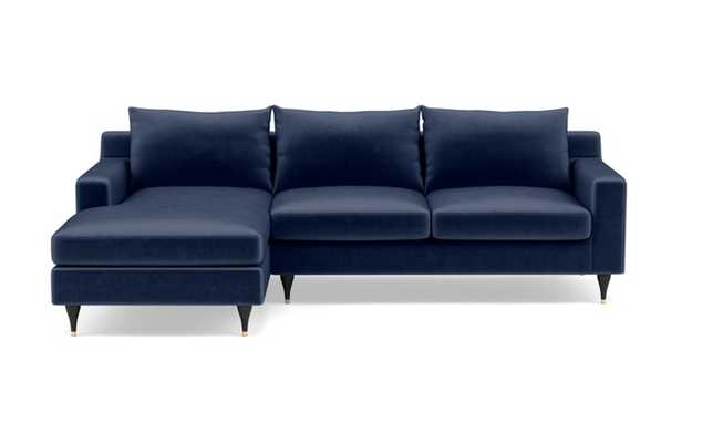Sloan Left Sectional with Blue Bergen Blue Fabric, down alternative cushions, extended chaise, and Matte Black with Brass Cap legs - Interior Define