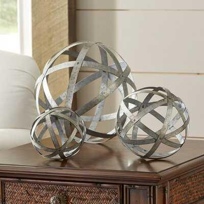 3 Piece Galvanized Sphere Silver Sculpture Set - Wayfair