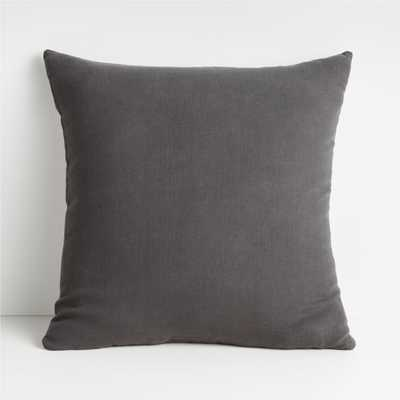 "Linen Steel 20"" Pillow with Down-Alternative Insert - Crate and Barrel"