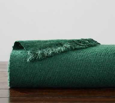 "Boucle Faux Mohair Throw, 50 x 60"", Emerald - Pottery Barn"