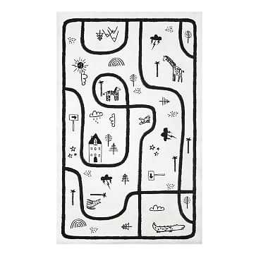 Modern Play Rug, 5'x8', Black + White - West Elm