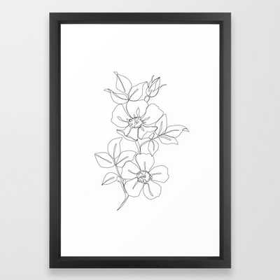 Floral One Line Drawing - Rose Framed Art Print by The Colour Study - Vector Black - SMALL-15x21 - Society6