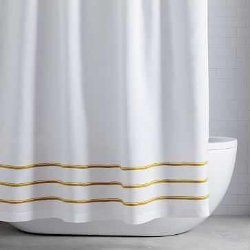 """Embroidered Stripe Shower Curtain, 72""""x74"""", Dark Horseradish - West Elm"""
