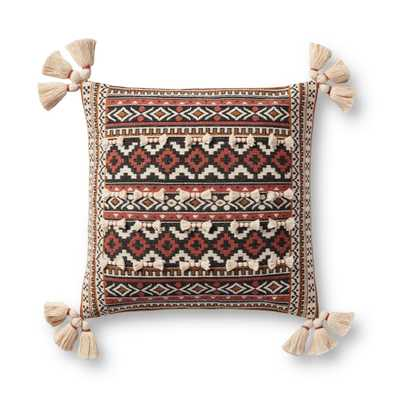 "PILLOWS P0947 RUST / MULTI 18"" x 18"" Cover w/Poly - Justina Blakeney x Loloi Rugs"