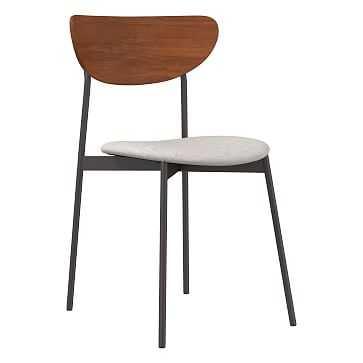 Modern Petal Wood Upholstered Dining Chair, Performance Coastal Linen, Stone White, Antique Bronze - West Elm