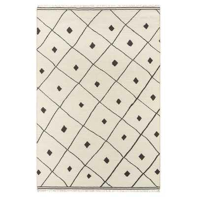 Erin Gates Appleton Modern Ivory Black Diamonds Geometric Rug- 4'x6' - Kathy Kuo Home