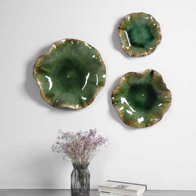 Abella Green Ceramic Wall Decor, S/3 - Hudsonhill Foundry
