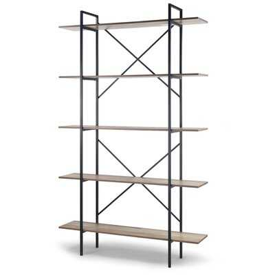 August 84.75 In. Metal Frame Light Brown Etagere Bookcase Five-Shelf Media Center - Wayfair