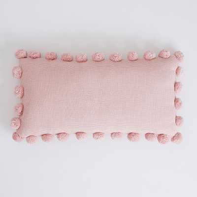 Pom Pom Organic Pillow Cover + Insert, Quartz Blush - Pottery Barn Teen
