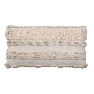 "28"" Woven Cotton & Wool Blend Lumbar Pillow with Fringe - Moss & Wilder"