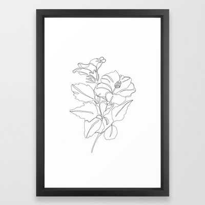 Floral One Line Drawing - Hibiscus Framed Art Print by The Colour Study - Vector Black - SMALL-15x21 - Society6