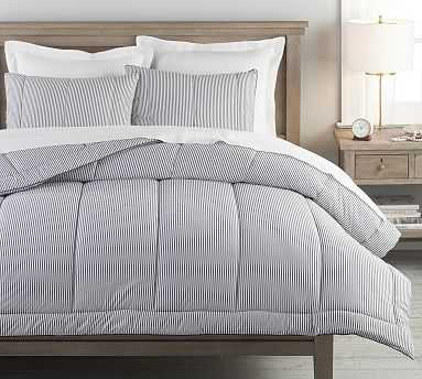 Wheaton Striped Organic Percale Comforter, Full/Queen, Navy - Pottery Barn