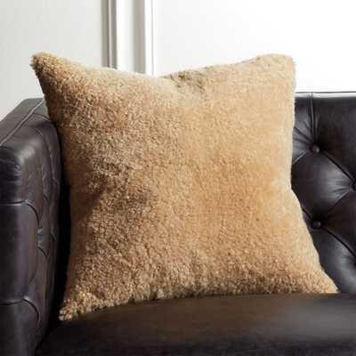 "18"" Shorn Sheepskin Camel Pillow with Feather-Down Insert - CB2"
