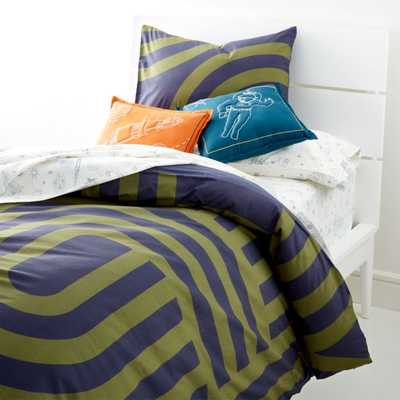 Curved Line Work Twin Duvet Cover - Crate and Barrel