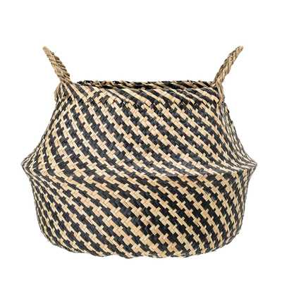 Black & Beige Woven Seagrass Basket with Handles - Moss & Wilder