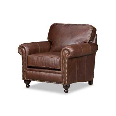 "Stone & Leigh™ Furniture Harrison 38"" W Genuine Leather Top Grain Leather Armchair - Perigold"