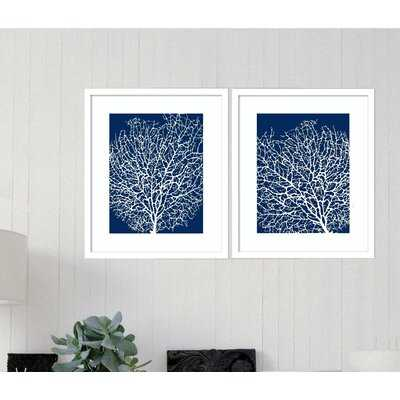 'Navy Coral' 2 Piece Picture Frame Painting Set - Birch Lane