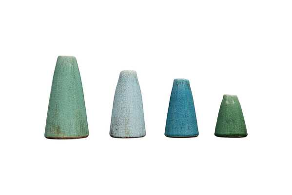 Green & Blue Terracotta Vases (Set of 4 Sizes) - Nomad Home