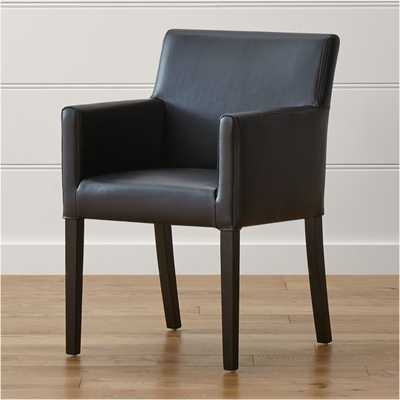 Lowe Onyx Leather Dining Arm Chair - Crate and Barrel