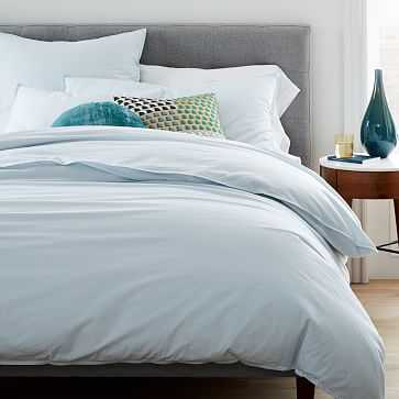 Organic Washed Cotton Duvet, King, Lightest Blue - West Elm