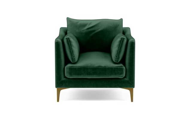 Caitlin by The Everygirl Petite Chair with Green Malachite Fabric and Matte White legs - Interior Define