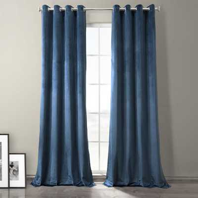 Exclusive Fabrics & Furnishings Baroness Blue Plush Velvet Hotel Blackout Grommet Curtain - 50 in. W x 96 in. L (1 Panel) - Home Depot