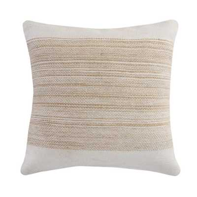 LR Home Border Off White / Beige Jute Woven Band Durable Poly-fill 20 in. x 20 in. Throw Pillow - Home Depot