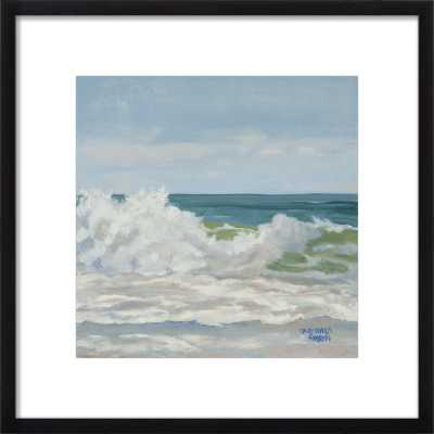 "Teal Ocean with Cascading Foam Wave - 16""x16"" - Artfully Walls"